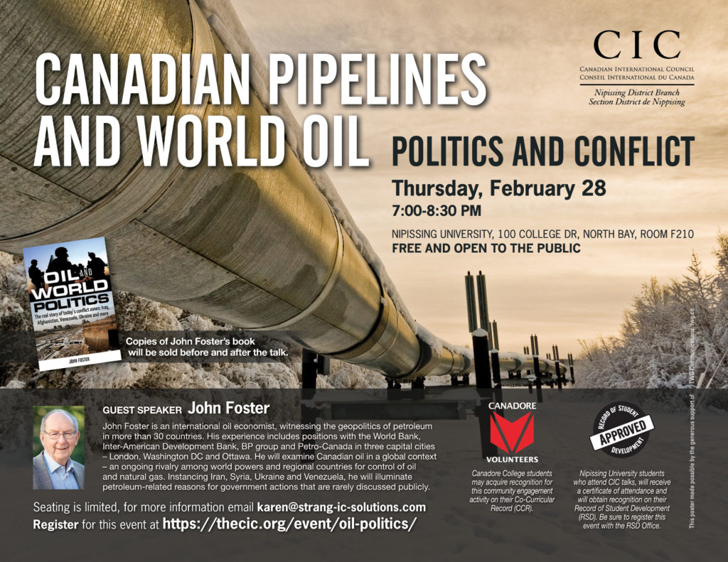 Cic Nipissing John Foster Oil World Politics Canadian - Ccr Canada