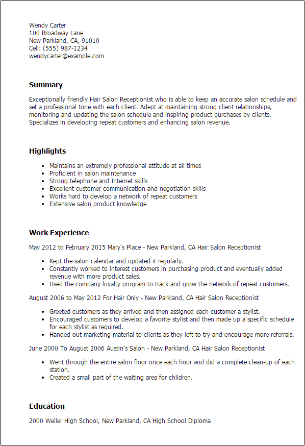 example of hair stylist resumes