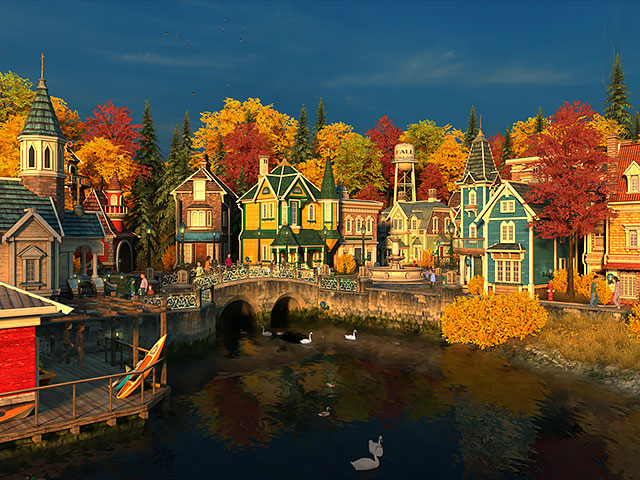 Clock Over Fireplace Nature 3d Screensavers - Fall Village
