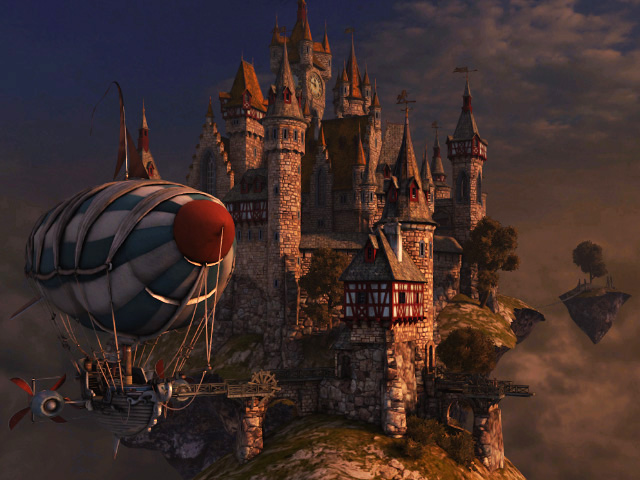 Iphone 32 Go Fantasy 3d Screensavers - Sky Citadel - Heavens Harbor On