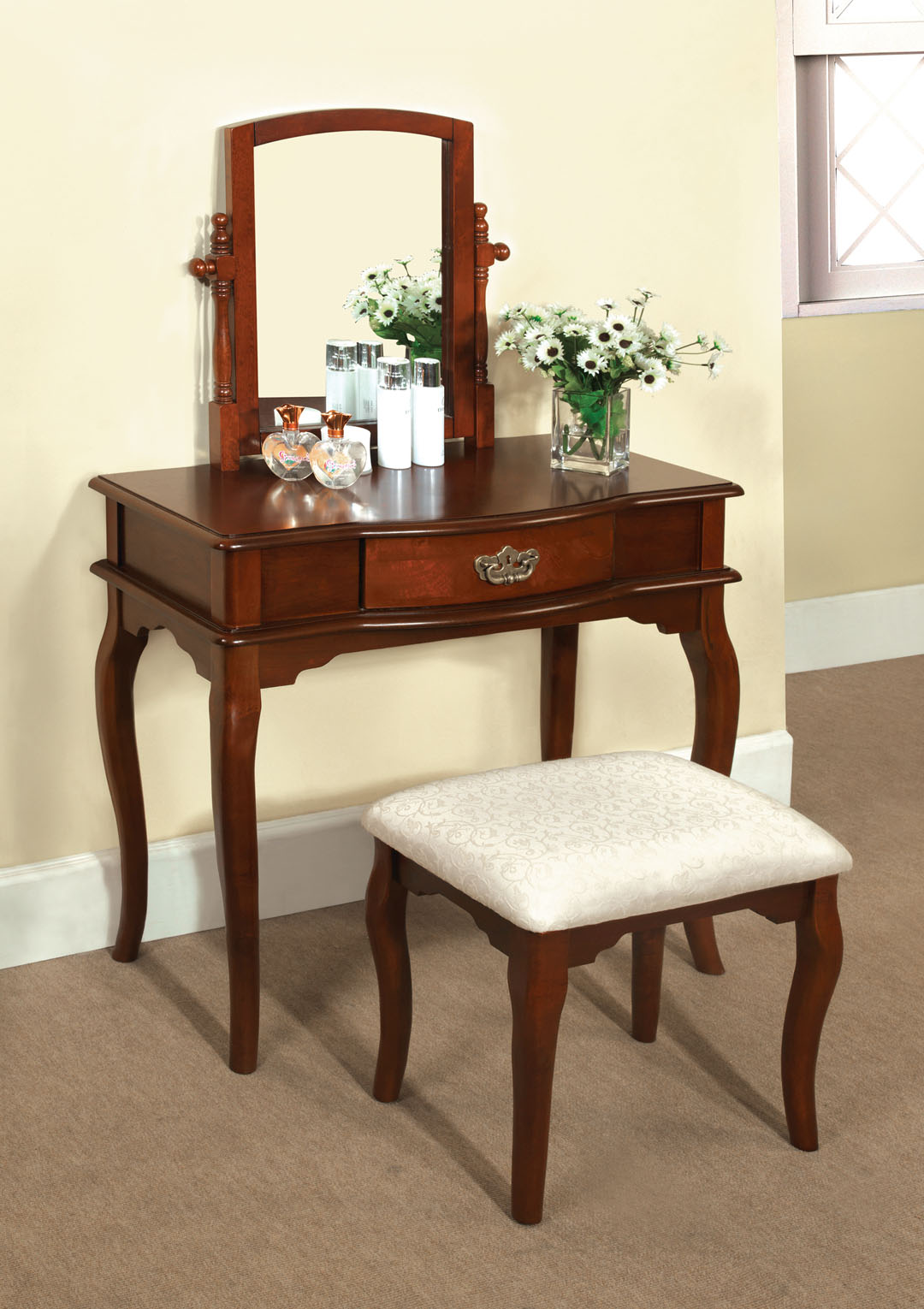 Vanity Table And Stool Set Madera Makeup Bedroom Vanity Set Table W Drawer Stool