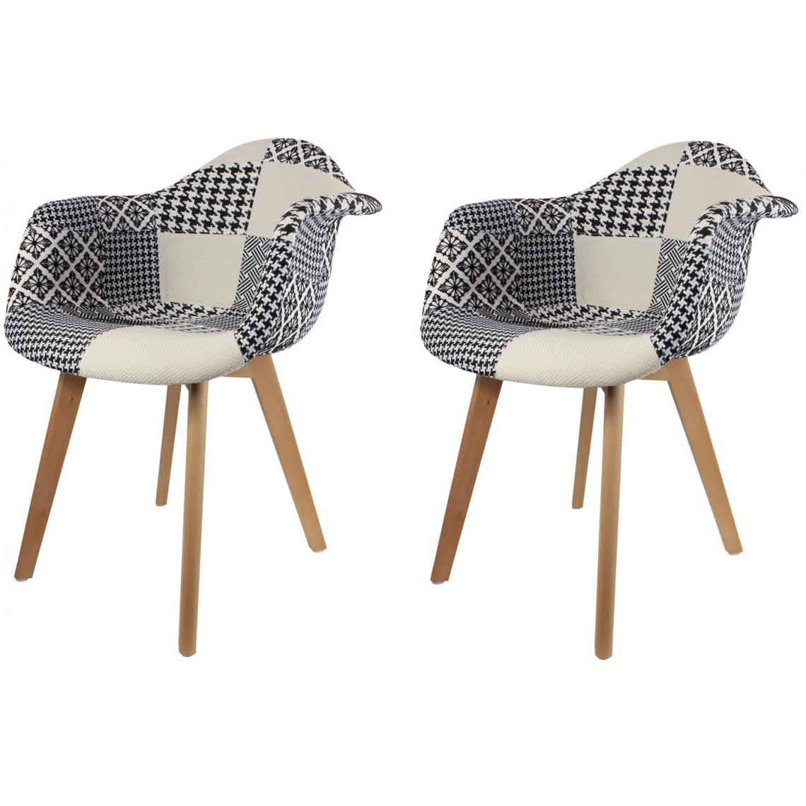 Fauteuils Scandinaves Patchwork Lot De 2 Chaises Scandinaves Avec Accoudoir Patchwork Bicolores