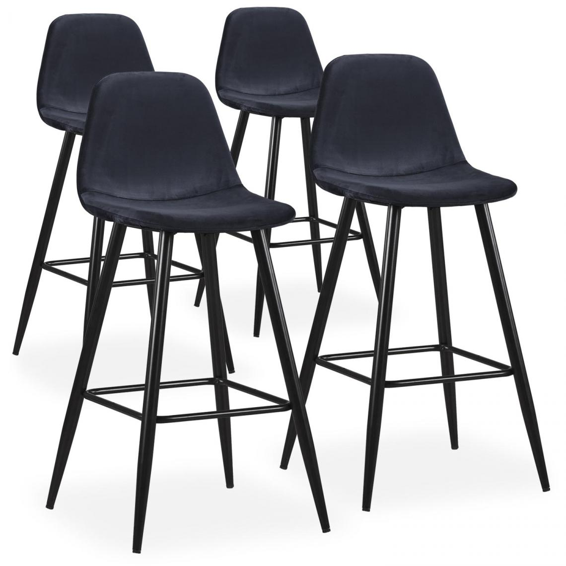 Lot De 4 Tabourets De Bar Velours Noir Kalmar 3 Suisses