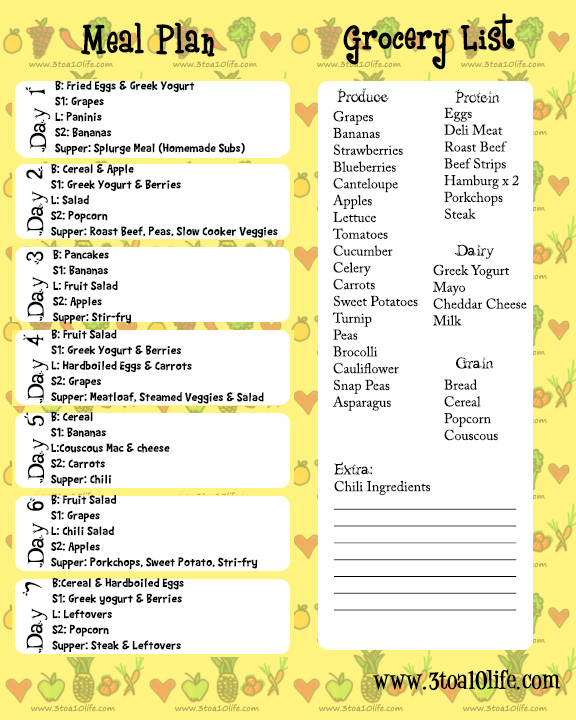 weekly healthy menu planner and grocery list - Gottayotti - weekly healthy meal plan