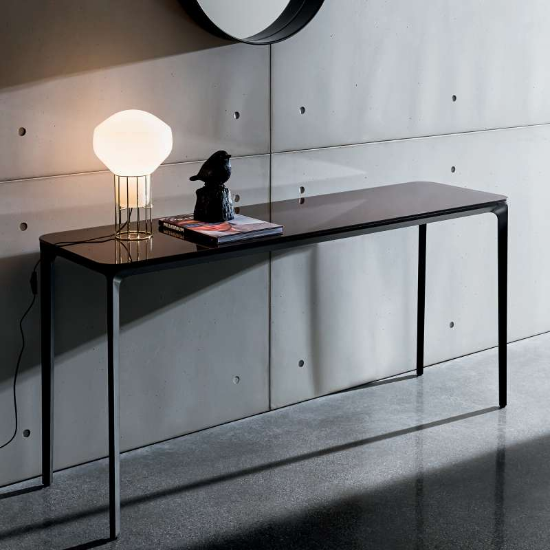 Salon Bas Aluminium Console Design En Verre - Slim Sovet® - 4 Pieds : Tables