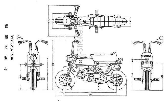 Honda Z50A Dimensions