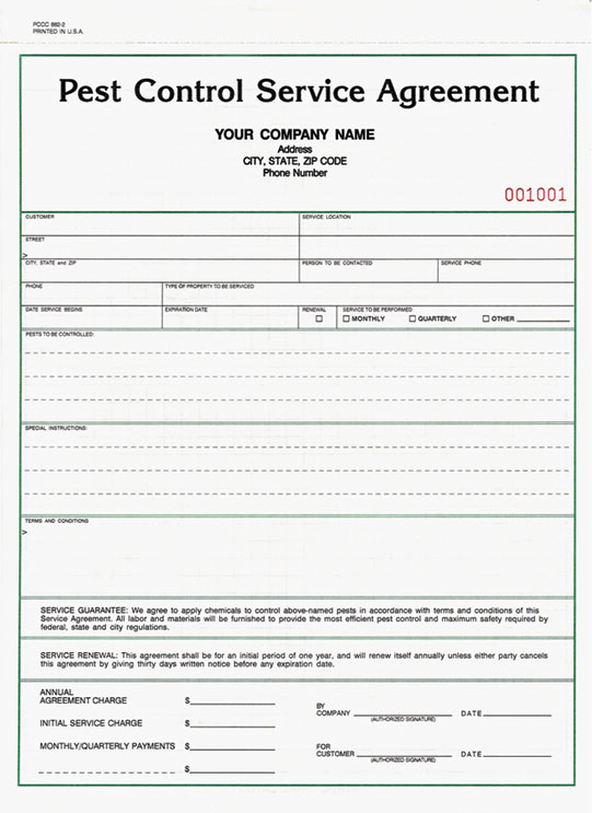 Pest Control Contract Template - service contract form