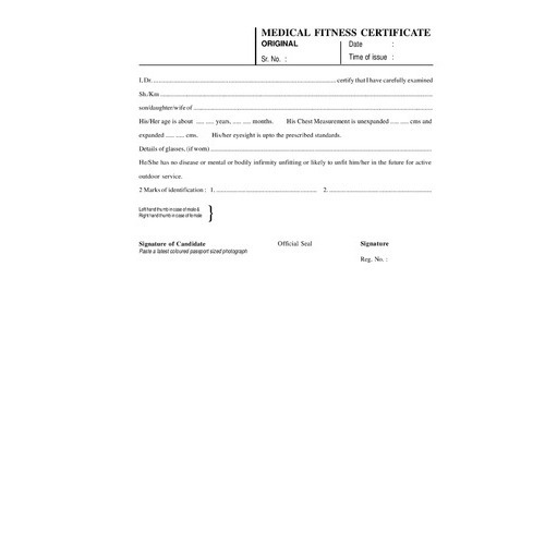 Medical Certificate Book at Rs 80 /pack(s) Medical Fitness