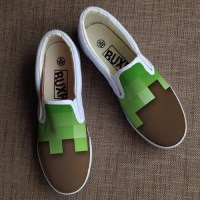 Minecraft shoes. Hand painted shoes.
