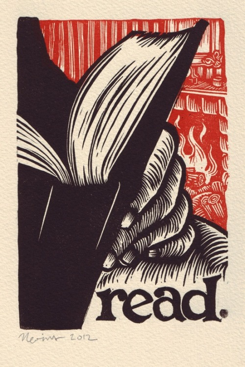 "Peter Nevins 2012 ""Read"" / Linocut printread. A linocut print on Arches cream … by TortillaPress on Etsy"