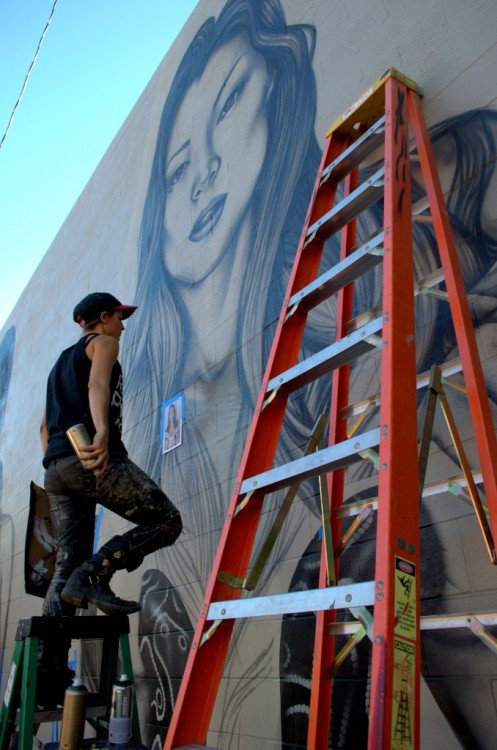 zeds:Fin Dac and Christina Angelina mural in Denver, USA, 2013