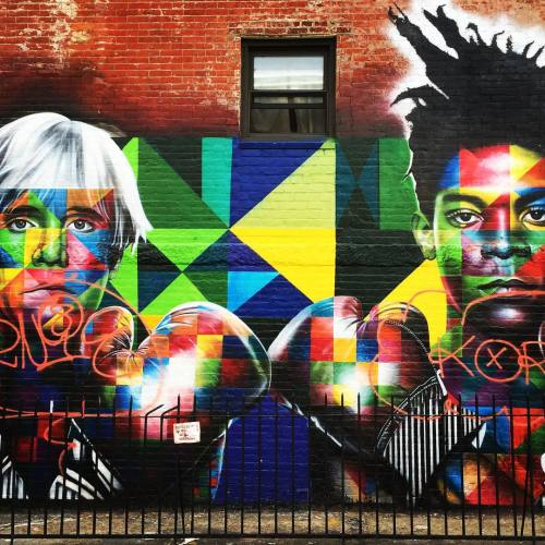 davidthorntonphotography:Warhol & Basquiat VS The World #Streetart #brooklyn #williamsburg #nyc