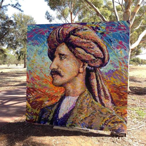 "autopsiart:  James Cochran (@akajimmyc) : ""Painted live in the Adelaide Parklands for a new project by @PeterDrewArts Peter Drew Arts, this is a portrait of Monga Khan who immigrated to Australia from Afghanistan in 1916 to work as a cameleer. Find out more about the project here http://www.pozible.com/project/203532"""