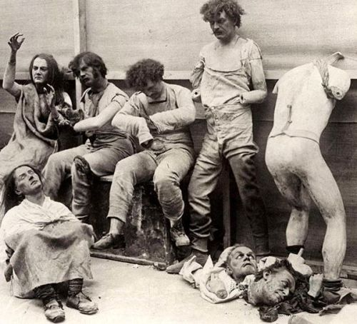 visualobscurity:Melted remnants of a fire at Madam Tussauds Wax Museum in London, 1930.