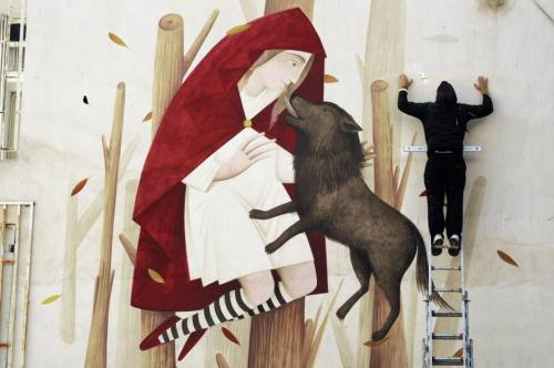 elladastinkardiamou:  Athens..58th primary schoolLittle Red Riding Hood. Mural art by Fikoswww.fikos.gr