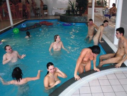 family naked in sauna