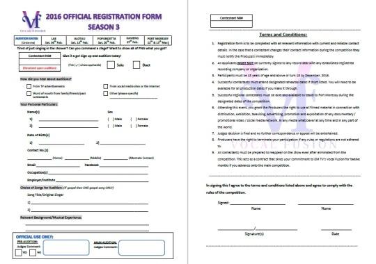 Vocal Fusion Season 3 Audition Form u2013 EMTV Online - audition form