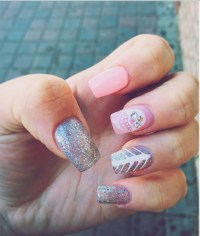 silver glitter acrylic nails | Tumblr
