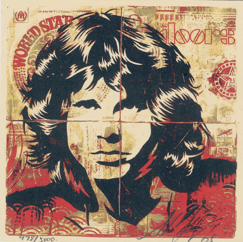 obeygiantart:  Thanks to Flashback+ on Flickr for posting this pic of the Jim Morrison lithograph.