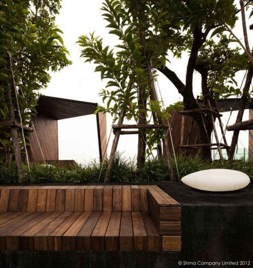 Life@Ladprao 18 Condominium Garden by Shma Design, Bangkok, Thailand - mesas de diseo