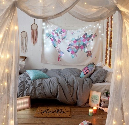 Room Ideas For Teenage Girls Tumblr With Lights Craft Room Bedroom ...