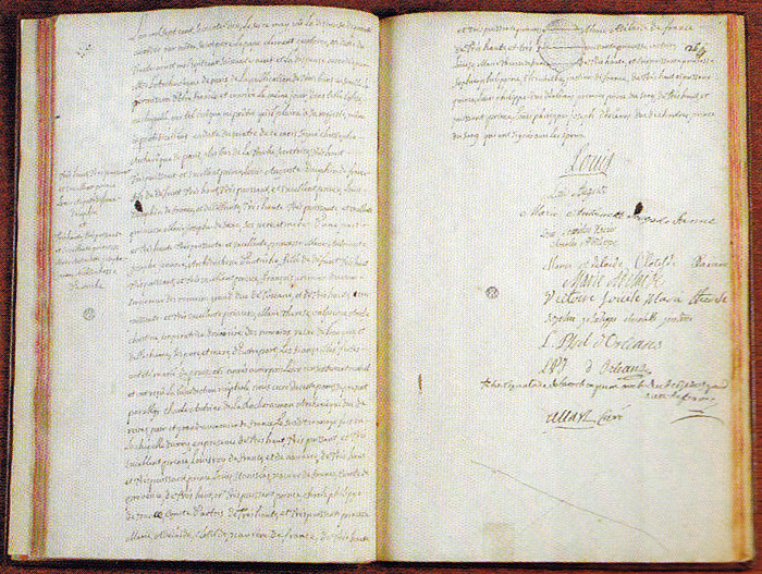 Marriage contract with the signatures of Louis XV, the Dauphin - paper lined
