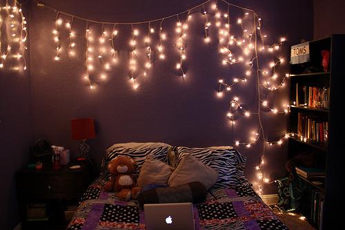 christmas lights in bedroom