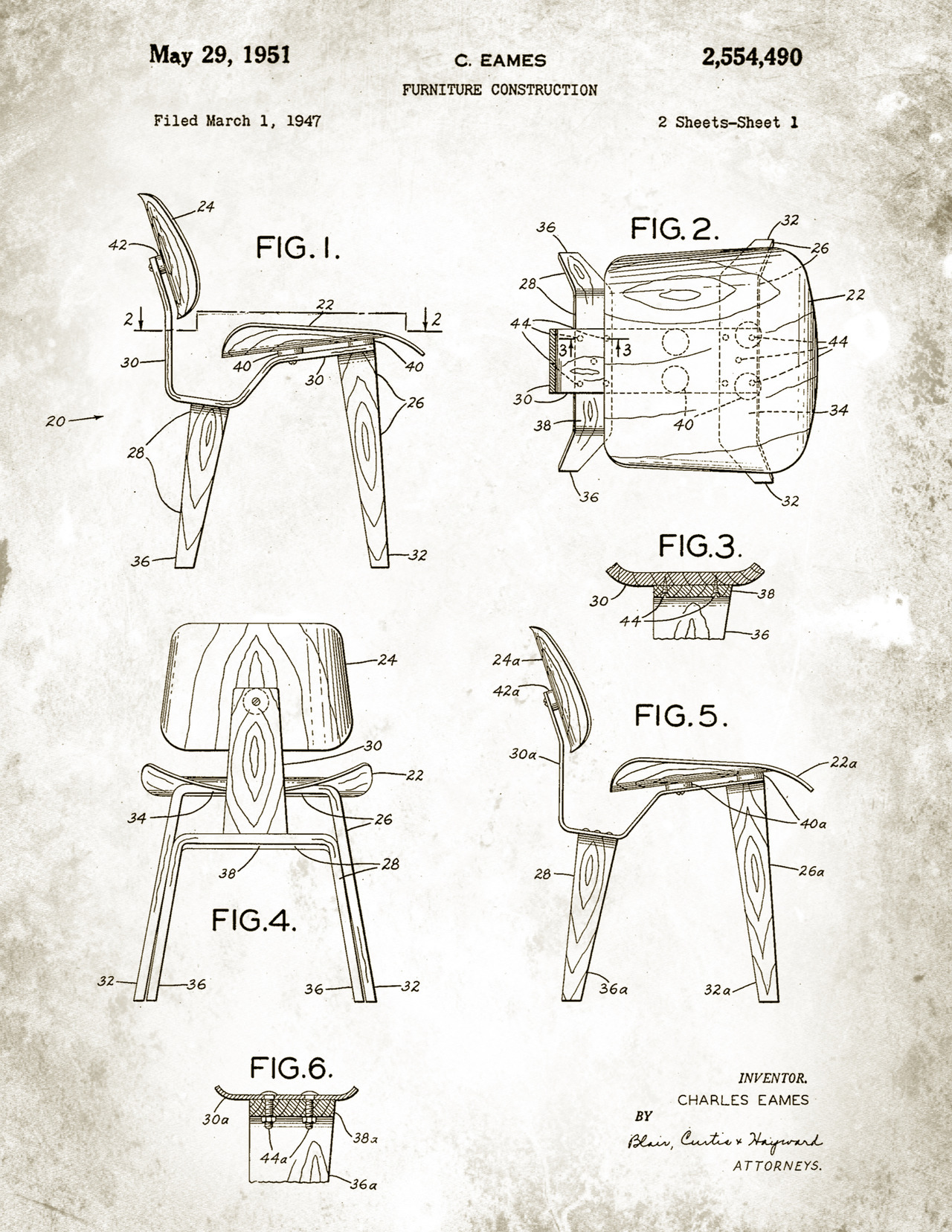 Eames Chair Drawing Mid Century Modern Freak Patent Drawings 1947 Eames