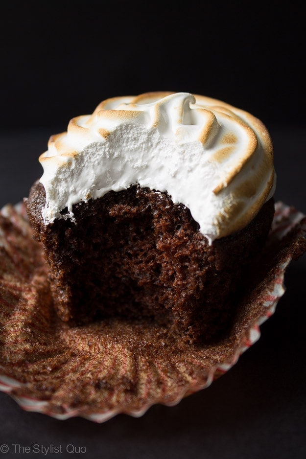 Hot Chocolate Cupcakes with Toasted Marshmallow Frosting
