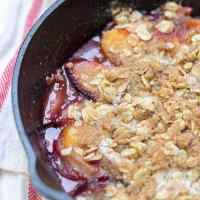 Stone Fruit Skillet Crumble for Two (Vegan, Gluten Free, Refined Sugar Free)