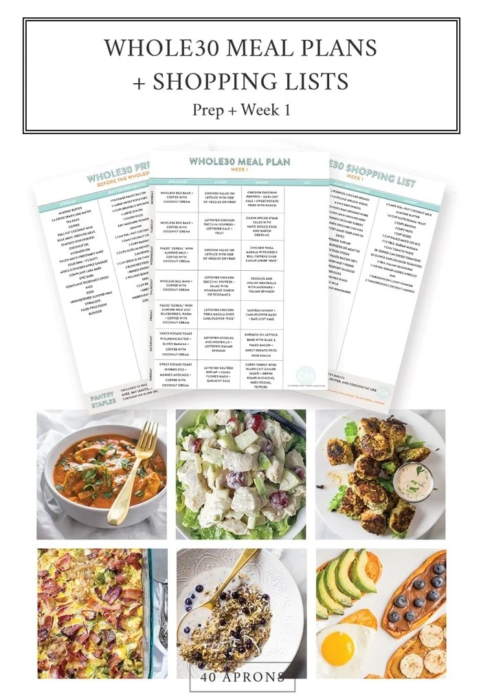 Whole30 Meal Plans + Shopping Lists Prep + Week 1 (Downloadable)