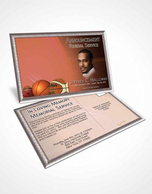 Obituary Template Trifold Brochure Ruby Night Basketball Lover Light - memorial card template