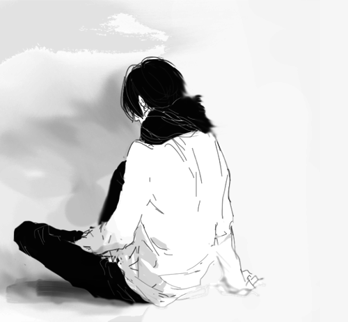 A Girl Sitting Alone Wallpapers Black And White Depressed Sad Anime Manga Monochrome Upset