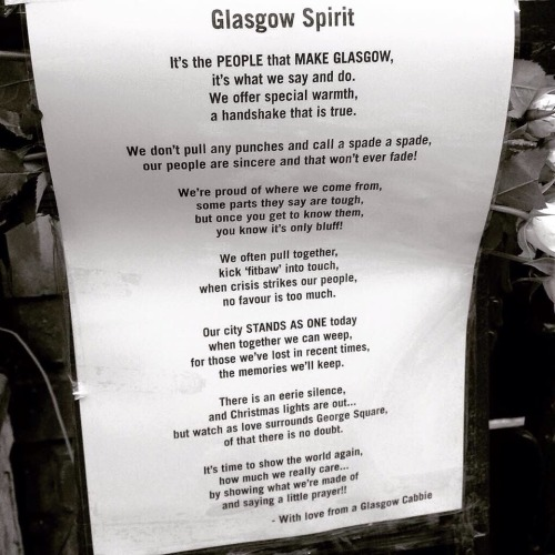 The Glasgow Spirit left by a Glasgow Taxi Driver in George Square - driver resume