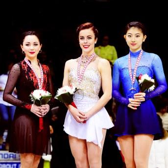 Skate Canada 2015 Medal Ceremony 1:Ashley Wagner 2:Elizaveta Tuktamysheva 3:Yuka Nagai [x]