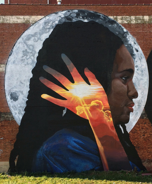 """exhibition-ism:  New mural """"the reflective black body"""" by LNY (Lunar New Year) in Newark, NJ as part of the Model Neighborhood Initiative project at 258 Jelliff Ave."""