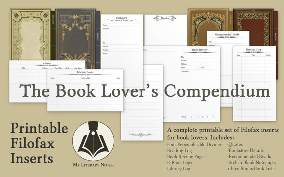Filofax Printables for Book Lovers All My Pretty Books
