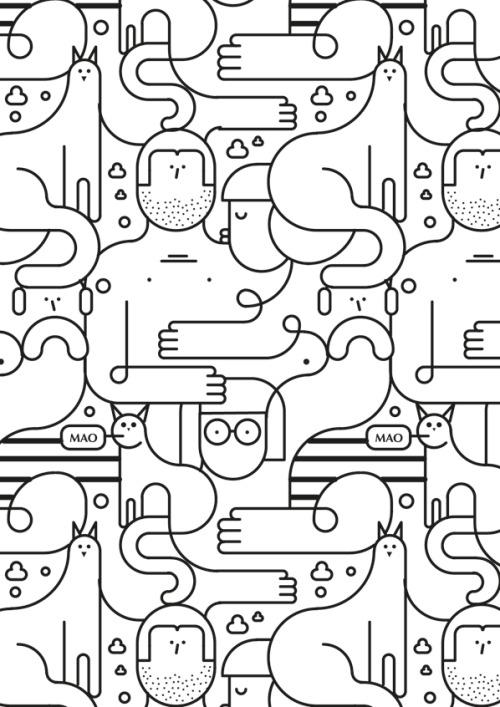 Designersgotoheaven - Cats by Jonathan Calugi Illustration - dessin de maison a imprimer