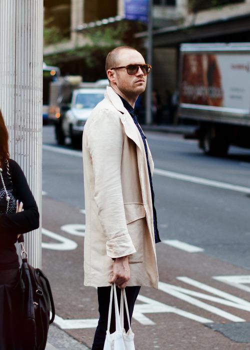 White trench.Similar look: Dries Van Noten Men's Royani Coat.