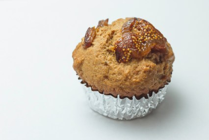 pear walnut muffin with figs