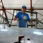 Rich Z. standing in P-61 Cockpit