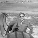 P-61 with Gary Fawcett standing in cockpit