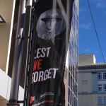 Lest We Forget banners in downtown Wellington, New Zealand
