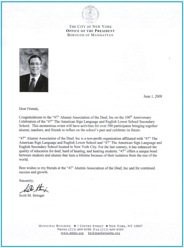 100th Anniversary Congratulatory Letters \u201c47\u201d Alumni Association