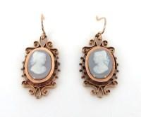 Antique Stone Cameo & 14K Rose Gold Dangle Drop Earrings ...