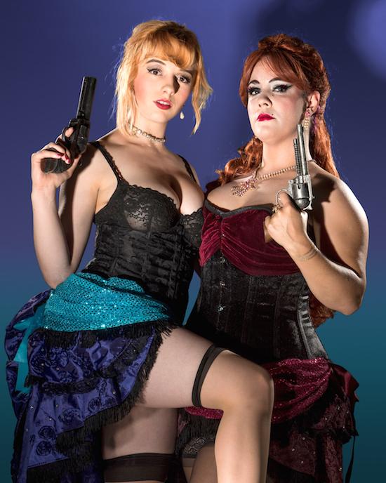 Katrina Kroetch and Bruna Palmeiro in Thrillpeddlers production of Shocktoberfest 16: Curse Of The Cobra. Photo by davidallenstudio.com