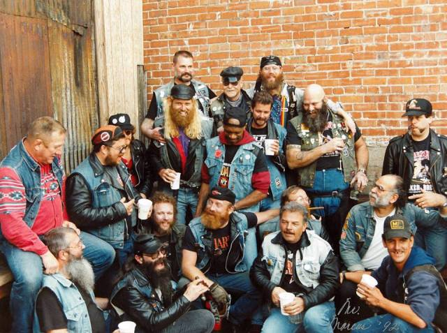 Promo for 'Leather and Fur': Rainbow Motorcycle Club celebrating their 20th anniversary on April 12, 1992 on the back patio of the Lone Star Saloon. Photo: Mr. Marcus (collection of BEAR Cultural & Historical Archives)
