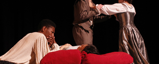 Students performing in Young Shakespeare Workshop's presentation of 'Othello'.  Photo by Chris Bennion.