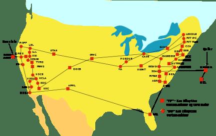 Représentation symbolique du réseau Arpanet (september 1974)