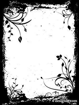 4-Designer Black and white pattern border vector material
